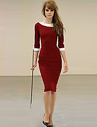 XinYuanGe® Women's Black/Blue/Red Vintage Turn Down Collar Midi Dress