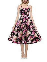 Women's Casual/Daily Sexy Swing Dress,Polka Dot Halter Knee-length Sleeveless Cotton Summer