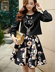 dabuwawa женские цветочные / цвет блока юбки, милый / уличный шик / изощренными выше колена
