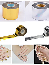 1roll 4cmX120m Hot Gold Silver Nail Art Foils Transfer Craft Polish Nail Stickers Decals