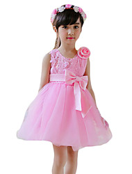 Girl's Casual/Daily Solid Dress,Cotton Summer Pink / Purple / Red