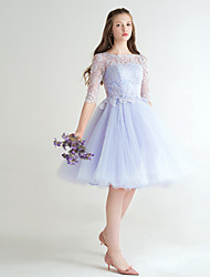 A-Line Jewel Neck Short / Mini Lace Prom Dress with Bow