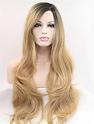 Blonde Color Super Wave Synthetic Lace Front Wig for Black Women Half Hand Tied Heat Resistant