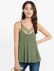 Mulheres Malha Íntima Casual Sensual Verão,Sólido Preto / Verde Algodão Com Alças Sem Manga Fina