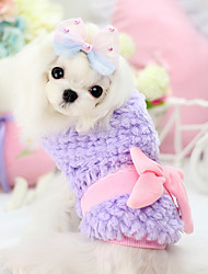Dog Coat Green / Pink / Yellow / Purple Winter Bowknot Keep Warm, Dog Clothes / Dog Clothing