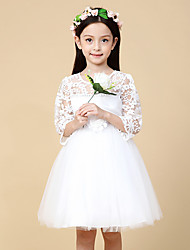 A-line Knee-length Flower Girl Dress - Satin / Tulle Half Sleeve Jewel with Crystal Detailing / Flower(s)