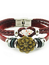 Wine Red Flower Leather Wrap Bracelet with Bead