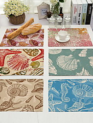 Conch Starfish Pad Printing Cotton And Linen Western Food
