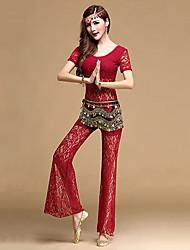 Dança do Ventre Roupa Mulheres Treino Renda Renda 2 Peças Manga Curta Natural Calças / Top Top M:53cm/L:54cm,Pant M:95cm/L:97cm