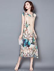 Gaine Robe Femme Grandes Tailles Sophistiqué,Imprimé Col Arrondi Midi Sans Manches Beige Polyester Eté Taille Normale Non Elastique