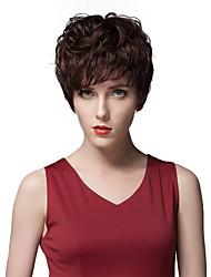 elegantes corta recta sin tapa pelucas de cabello humano en capas
