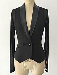 Damen Solide Sexy Anspruchsvoll Lässig/Alltäglich Blazer,Schal Revers Frühling Sommer Langarm Standard Baumwolle Polyester