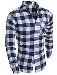 Men's Plaids Casual / Work Shirt,Cotton Long Sleeve Gray