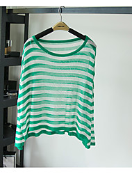 Women's Casual/Daily Simple Regular Pullover,Multi-color Round Neck Long Sleeve Cotton Spring
