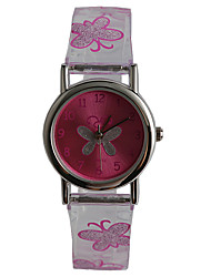 Fashion Transparent Plastic With Butterfly Pattern Pupils Watch
