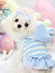 Perros Saco y Capucha / Vestidos Azul / Rosado Invierno Rayas Mantiene abrigado, Dog Clothes / Dog Clothing-Other