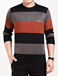Men's Casual/Daily Formal Plus Size Regular Cardigan,Color Block Long Sleeve Cotton Winter