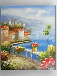 Hand-Painted Mediterranean Sea Landscape Oil Painting Restaurant Living Room With Frame Ready to Hang
