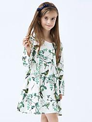 Girl's Cotton Spring/Autumn Print Long Sleeve Cotton Princess Green Dresses