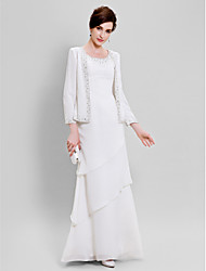 Lanting Bride® Sheath / Column Plus Size / Petite Mother of the Bride Dress - Wrap Included Floor-length Long Sleeve Chiffon withBeading