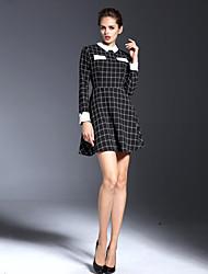 Mujer Vaina Vestido Casual/Diario Simple,Bloques Cuello Camisero Mini Manga Larga Negro Algodón Otoño Tiro Alto Microelástico Fino