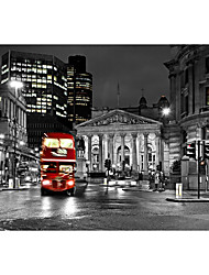 3D Shinny Leather Effect Large Mural Wallpaper City Night Scene and Red Bus Art Wall Decor Wall Paper