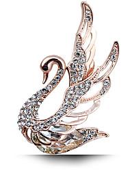 Frauengoldkristall Strass Mode Schwan überzog Partei / Tages Broschen Luxus-Schmuck-Pins