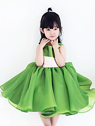 A-line Knee-length Flower Girl Dress - Organza Sleeveless Jewel with Bow(s) / Ruching