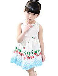 Girl's Casual/Daily Solid Dress,Cotton Summer White