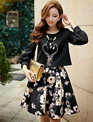 dabuwawa femmes sortir / vintage vacances punk /& gothique / hoodies courts sophistiqués, solide / patchwork necklong rond