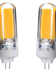 2pcs g4 1cob 3w 300-450lm blanco caliente / blanco / blanco natural dimmable llevó bi-pin luces ac220v
