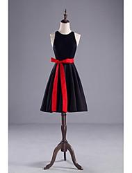 Knee-length Spandex Bridesmaid Dress-Black A-line Jewel