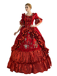 One-Piece/Dress Gothic Lolita Steampunk® / Victorian Cosplay Lolita Dress Red Solid Half-Sleeve Long Length Dress For WomenSatin / Lace /