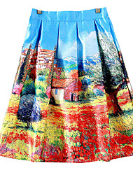 Women's Print Multi-color Skirts,Cute / Chinoiserie Knee-length