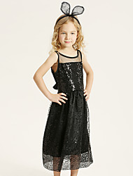 Girl's Casual/Daily Solid Dress,Cotton Summer / Spring Black / Blue