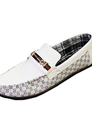 Men's Loafers & Slip-Ons Spring / Summer Comfort PU Casual Flat Heel Slip-on Black / White Walking