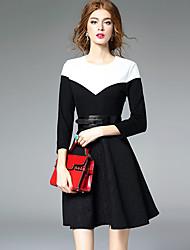 Trapèze Robe Femme Sortie Chic de Rue,Mosaïque Col Arrondi Au dessus du genou Manches Longues Noir Polyester Automne Taille Normale