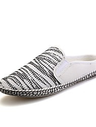 Men's Shoes Tulle Casual Slippers & Flip-Flops Casual Walking Flat Heel Split Joint White / Silver / Gold