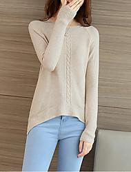 Damen Standard Pullover-Lässig/Alltäglich Street Schick Solide Rosa / Beige / Grau / Lila Rundhalsausschnitt Langarm Polyester Herbst
