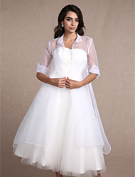 Women's Wrap Coats/Jackets Half-Sleeve Organza White Wedding / Party/Evening / Casual Fold-over Collar Draped Open Front