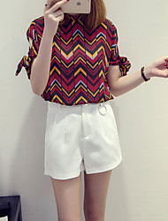 Women's Going out / Casual/Daily Simple / Cute Summer Blouse,Color Block Stand Short Sleeve Red Cotton Thin