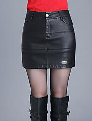 Damen Röcke - Sexy / Einfach / Niedlich Übers Knie PU Mikro-elastisch