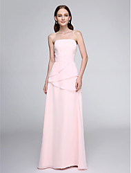 Floor-length Chiffon Bridesmaid Dress - Elegant Sheath / Column Strapless with Ruching