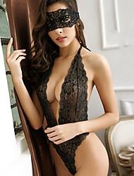 Для женщин Кружевное белье Ультра-секси Костюм Ночное белье,Сексуальные платья КружеваТонкий Кружева Полиэстер Красный Черный