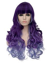 European Vogue Long sythetic Purple Ombre Blue Full Bang Curly Party Wig For Women