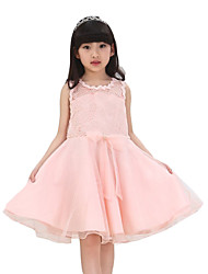 Girl's Casual/Daily Solid Dress,Cotton / Polyester Summer Blue / Pink / Yellow
