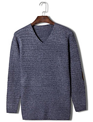 Herren Pullover-Einfarbig Freizeit Wolle Lang Grau