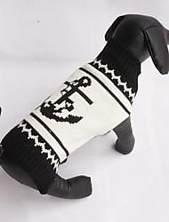 Katzen Hunde Pullover Hundekleidung Winter Frühling/Herbst Seefahrer Modisch Lässig/Alltäglich Schwarz
