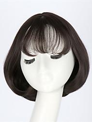 30cm Long Dark Brown Air Bang Wig Female Hair Bobo Inside Buckle Short Bob Fluffy Pear Flower Head Set