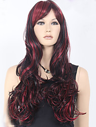 European and American Ppopular High Quality Black Burgundy Mix Color Long Curly Hair Synthetic Wig